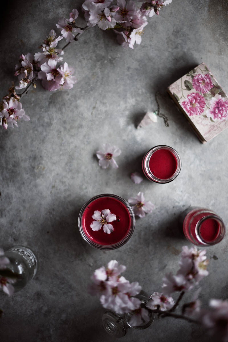 beetroot juice, almond blossom