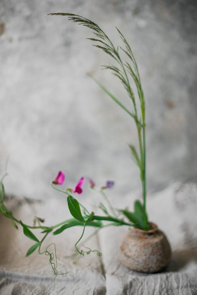 Simple flower arrangement in a wabisabi style. Natural linen. Eco brand. Marbella photographer. Aleksandra Olejnik.